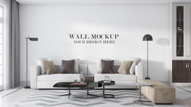 Роскошный современный макет стены гостиной в 3d-рендеринге