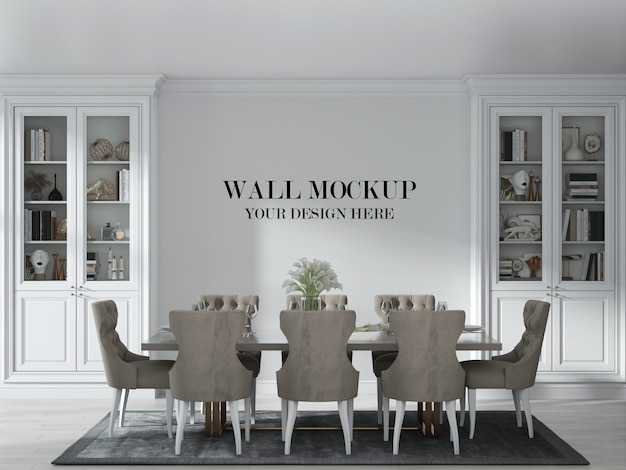 Luxury country style dining room wall mockup