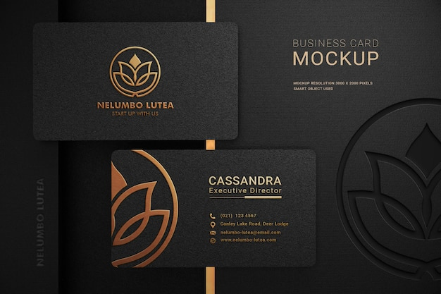 Luxury dark business card logo mockup with embossed and debossed effect