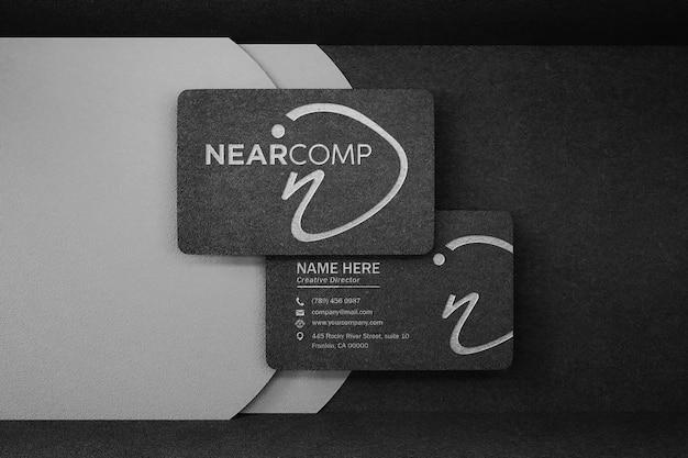 Luxury dark business card logo mockup with embossed and debossed effect