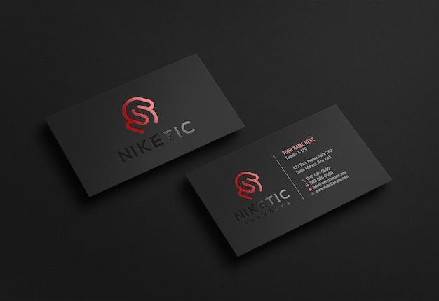 Роскошный темный макет логотипа визитки с эффектом тиснения