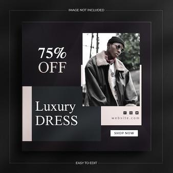 럭셔리 다크 패션 판매 소셜 미디어 게시물 및 instagram 스토리 배너 템플릿