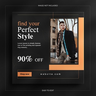 Luxury dark fashion sale social media post and instagram story banner template
