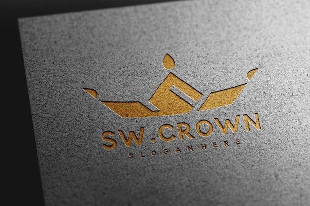 Luxury debossed logo mockup on paper texture