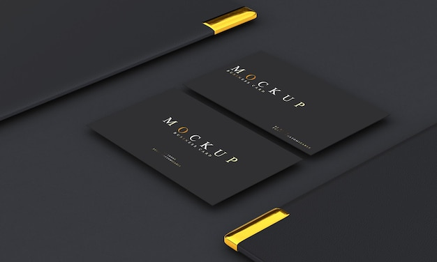 Luxury design business card mockup in gold and black tones