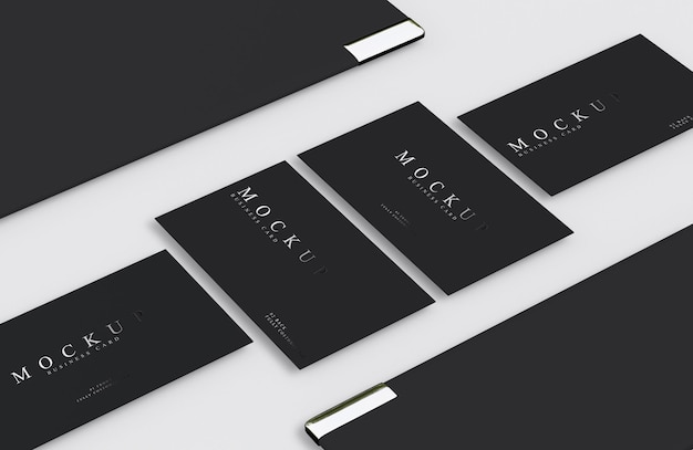 Luxury design business card mockup in silver and black