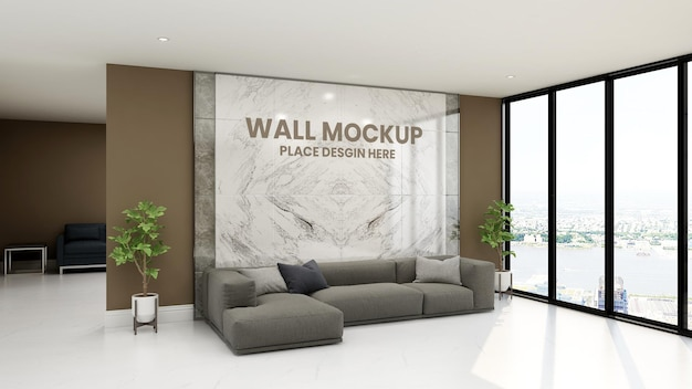 Luxury design interior of waiting room  3d wall mockup