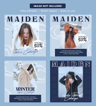Luxury elegant fashion discount social media promo banner design instagram post template