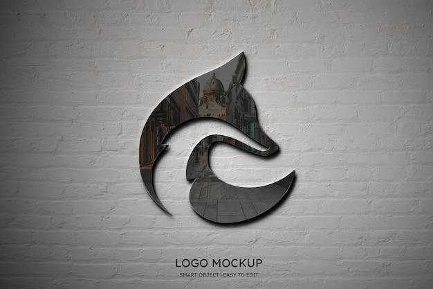 Luxury elegant logo mockup on white brick wall background