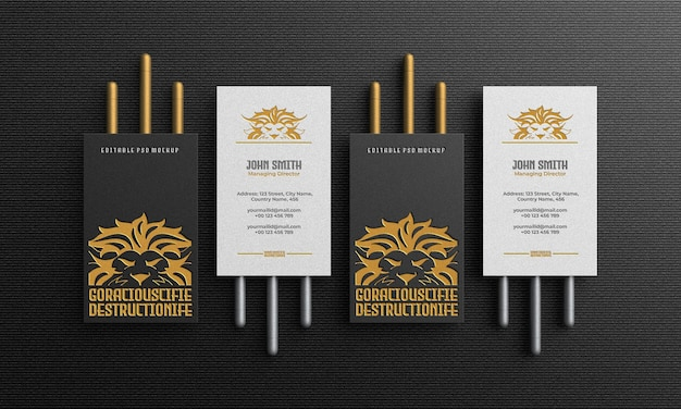 Luxury and elegant vertical business card mockup top view