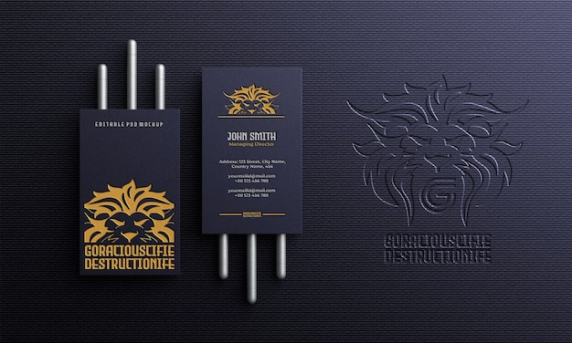 Luxury and elegant vertical business card with logo mockup top view