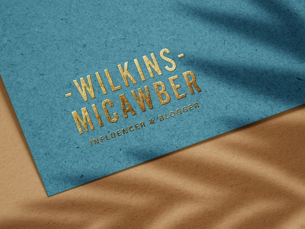 Luxury embossed gold logo mockup on recycled paper