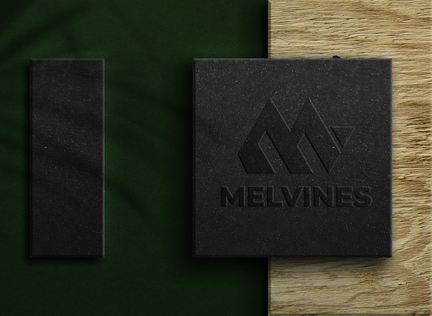 Luxury embossed logo mockup on a box
