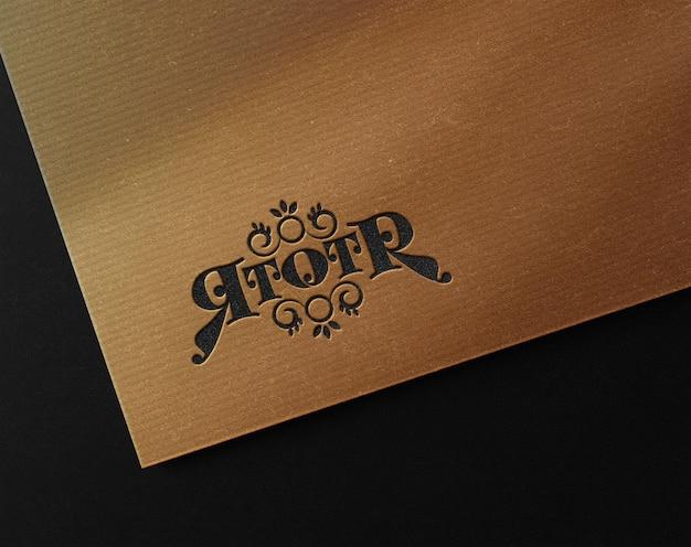 Luxury embossed logo mockup on cardboard