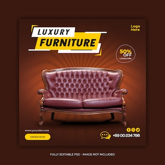 Luxury furniture sale social media banner template