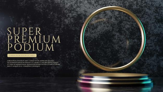 Luxury and futuristic gold podium