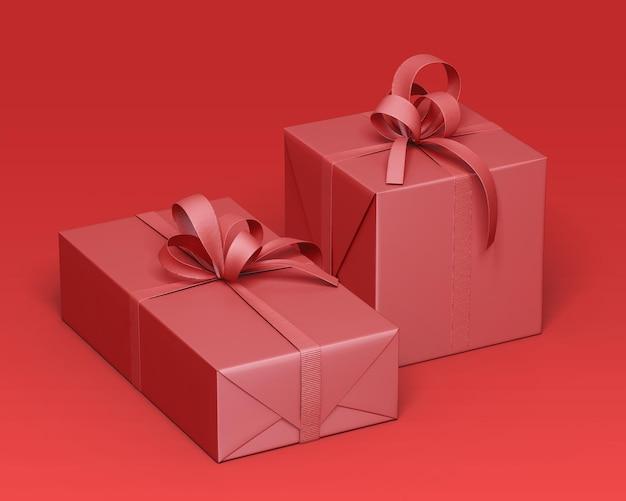 Роскошный макет подарочной коробки с лентой
