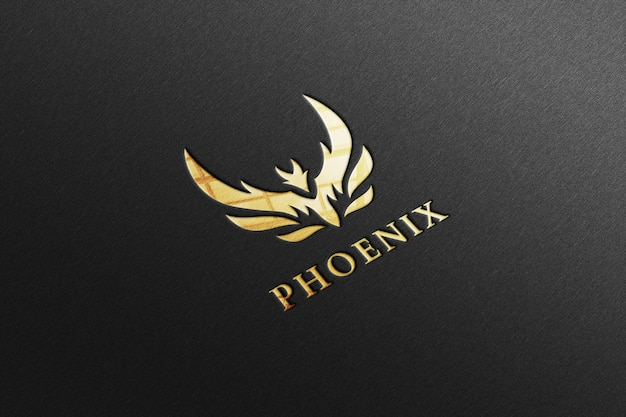 Luxury glossy golden logo mockup in black paper