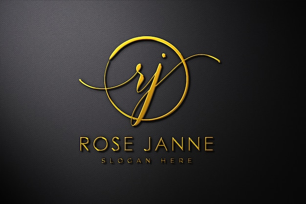 Luxury gold 3d logo mockup