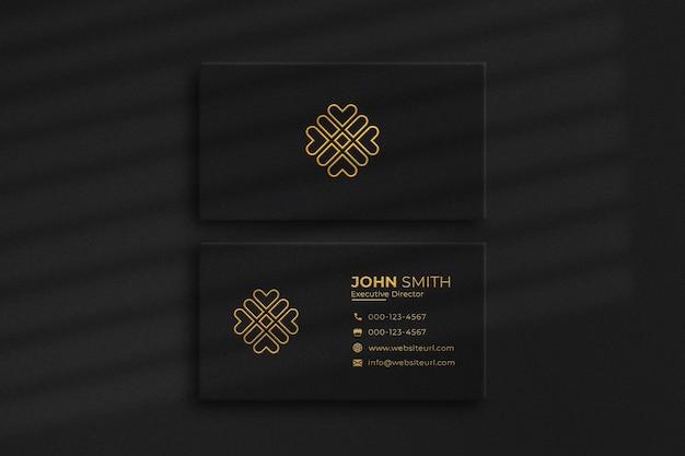 Роскошный золотой и черный макет визитки