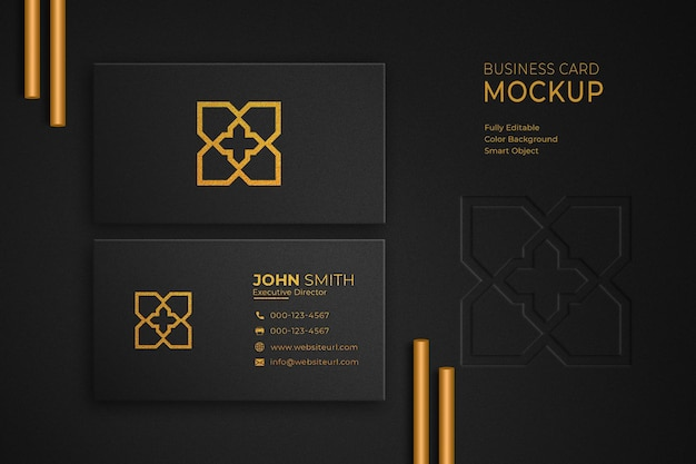 Luxury gold and black business card mockup