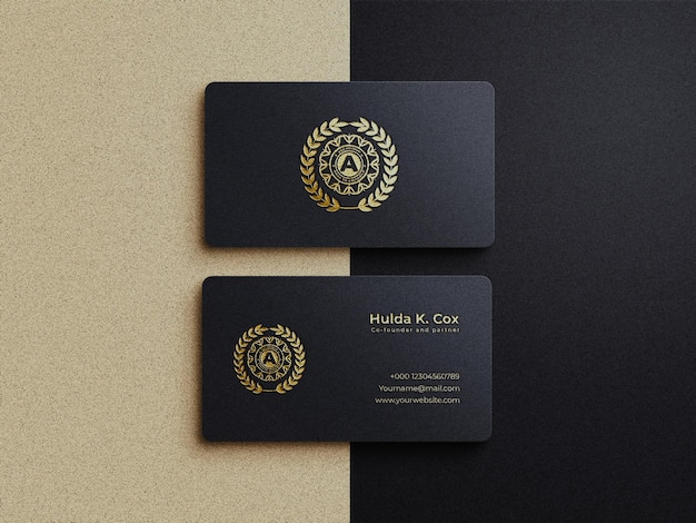 Luxury gold embossed business card mockup