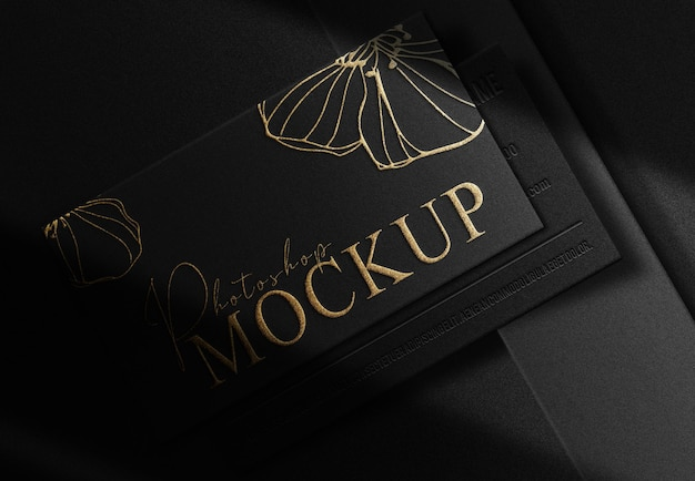 Luxury gold embossed business card prespective view mockup