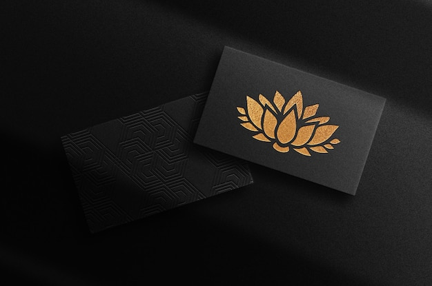 Luxury gold embossed business card stack prespective view mockup