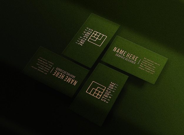 Luxury gold embossed green business card mockup