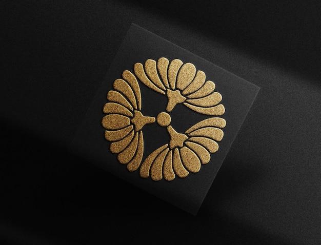 Luxury gold embossed logo floating card mockup