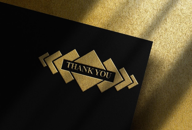 Luxury gold embossed mockup with gold surface from above