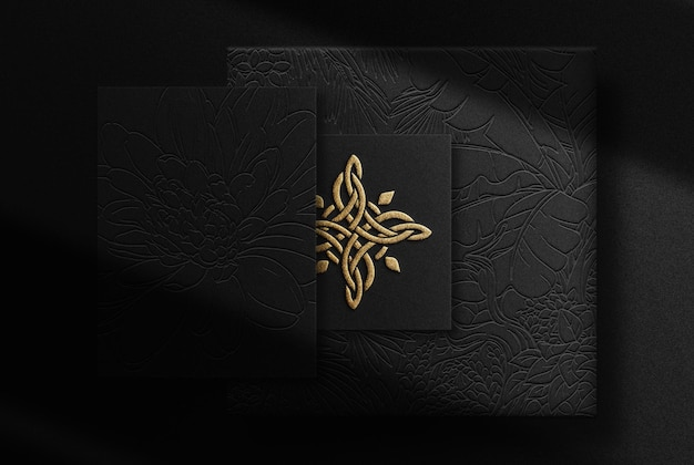 Luxury gold embossed paper and business card mockup