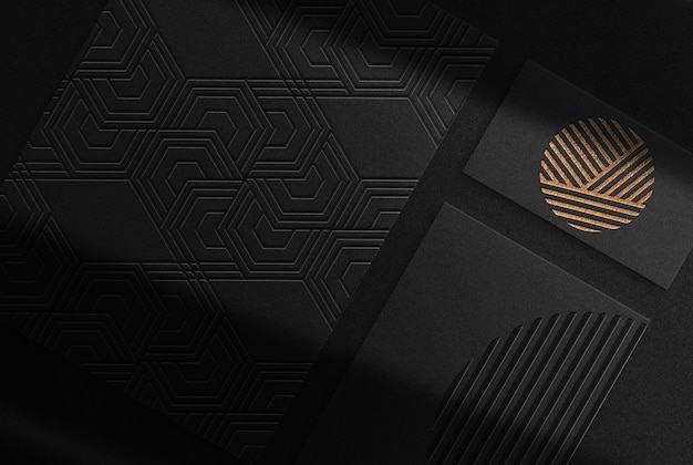 Luxury gold embossed paper and business card top view mockup