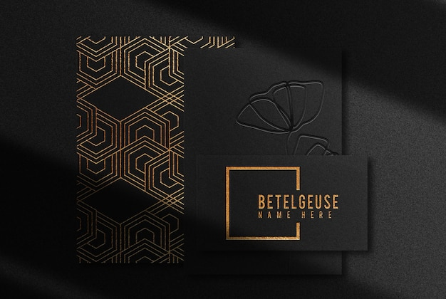 Luxury gold embossed papers and business card mockup