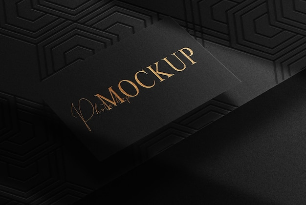 Luxury gold embossed single business card mockup