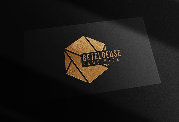 Luxury gold embossed single business card prespective view mockup