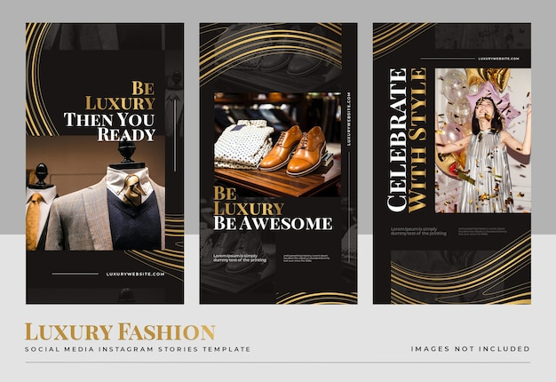 Luxury gold fashion social media  stories template