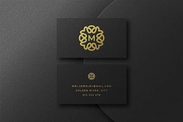 Luxury gold logo mockup in business card
