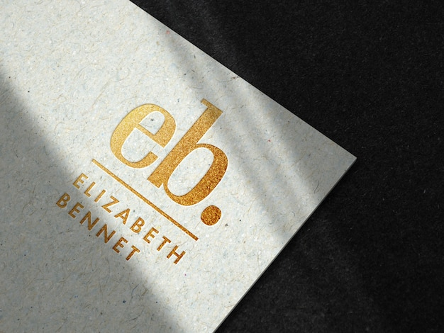Luxury gold logo mockup on recycled paper