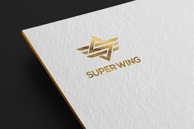 Luxury gold logo mockup on white paper template