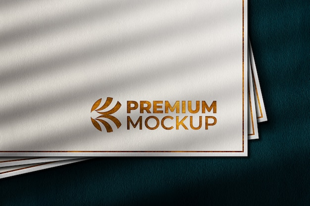Luxury gold logo mockup on white paper