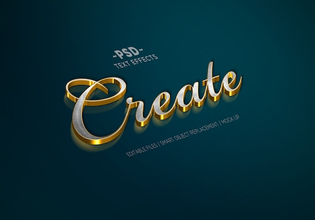 Luxury gold silver style editable text effects