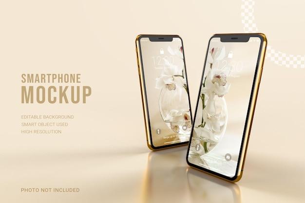 ロック画面インターフェイスを備えた豪華なゴールドのスマートフォンのモックアップ