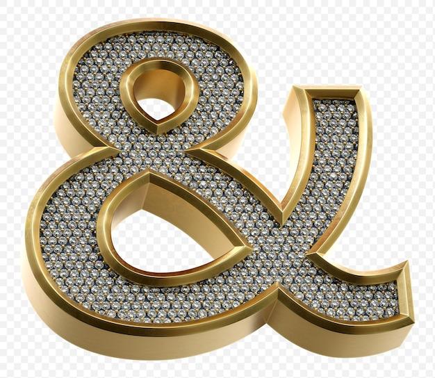 ダイヤモンドアンパサンド記号分離3dレンダリング画像と豪華な黄金のアルファベット