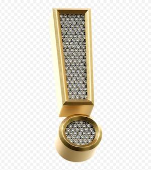 ダイヤモンド感嘆符が分離された3dレンダリング画像と豪華な黄金のアルファベット