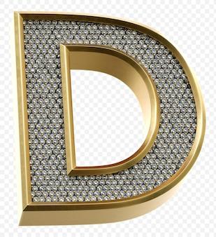 ダイヤモンドと豪華な黄金のアルファベット文字d分離3dレンダリング画像