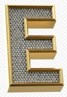 Роскошный золотой алфавит с бриллиантами буква e изолированные 3d визуализации изображения