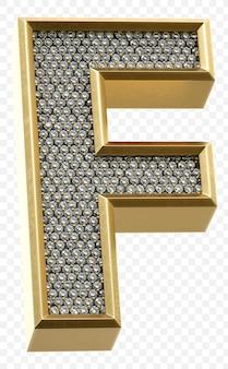 ダイヤモンド文字f分離3dレンダリング画像と豪華な黄金のアルファベット