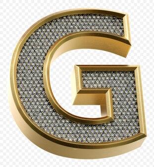 ダイヤモンドと豪華な黄金のアルファベット文字g分離3dレンダリング画像