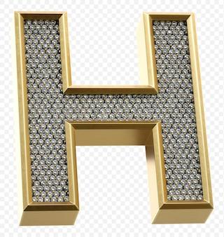 ダイヤモンド文字h分離3dレンダリング画像と豪華な黄金のアルファベット